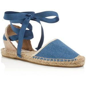 Soludos Chambray Tie Lace Up Espadrille Sandal